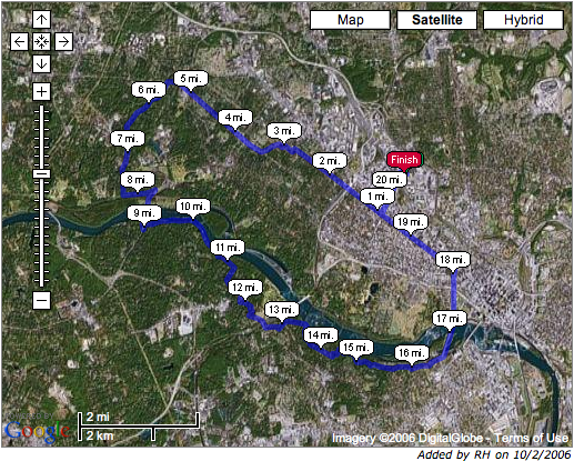 Today's running route plotted onto a satellite image from Google Maps