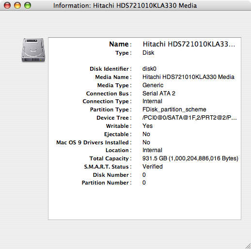 Hitatchi Terabyte hard drive installed on my iMac desktop