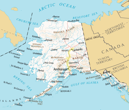 Map of Alaska (courtesy of Wikipedia), with areas we explored highlighted.