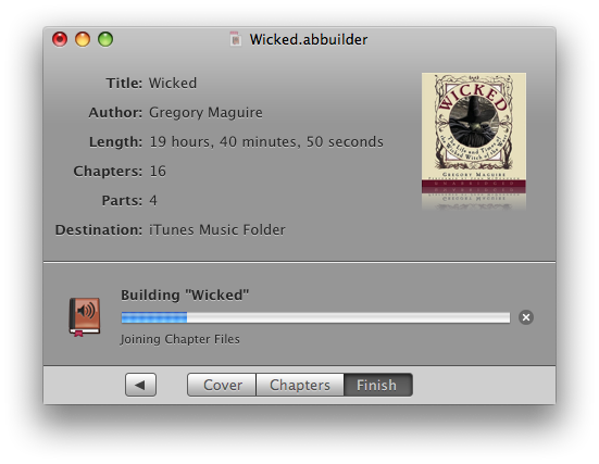 Creating an audiobook of Wicked using Audiobook Builder