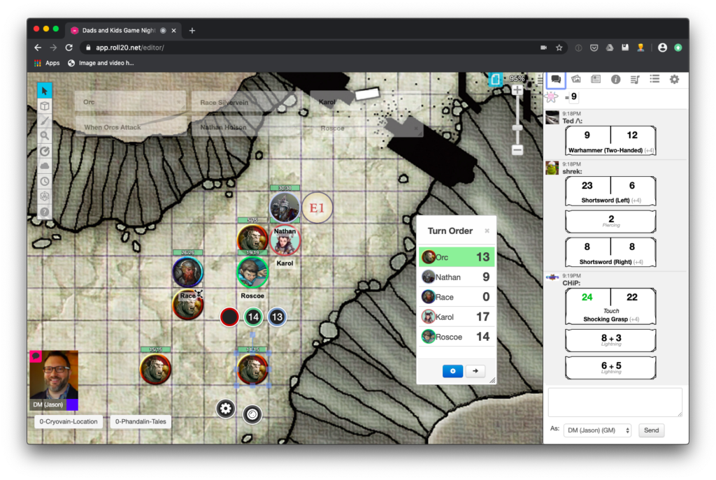Roll20 Screenshot of Dads and Kids Game Night